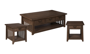 Mission Brown 3-Piece Occasional Table Set