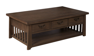 Mission Brown 3-Drawer Cocktail Table