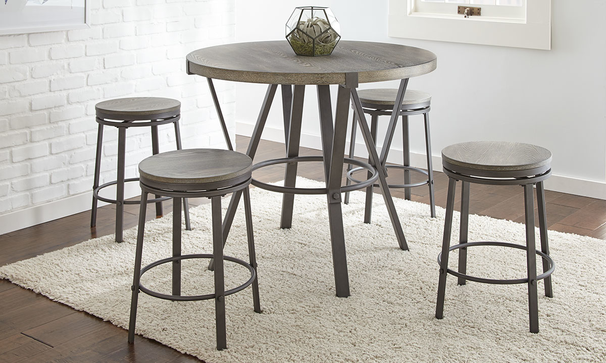 Picture of Portland Grey Iron & Ash 5-Piece Counter Height Dining Set