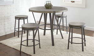 Portland Grey Iron & Ash 5-Piece Counter Height Dining Set