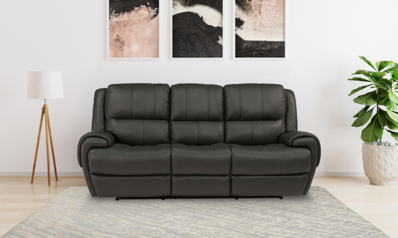 Beckham Grey Power Reclining Leather Sofa