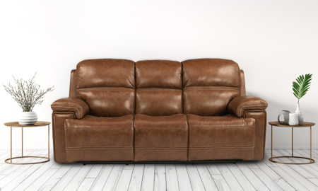 Lionel Caramel Power Reclining Leather Sofa