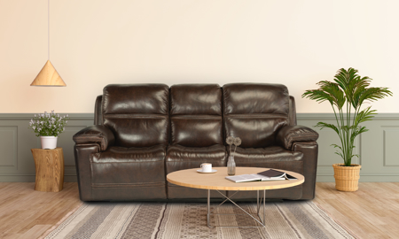 Lionel Walnut Power Reclining Leather Sofa