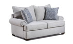 Grey fabric upholstered loveseat with two matching throw pillows.