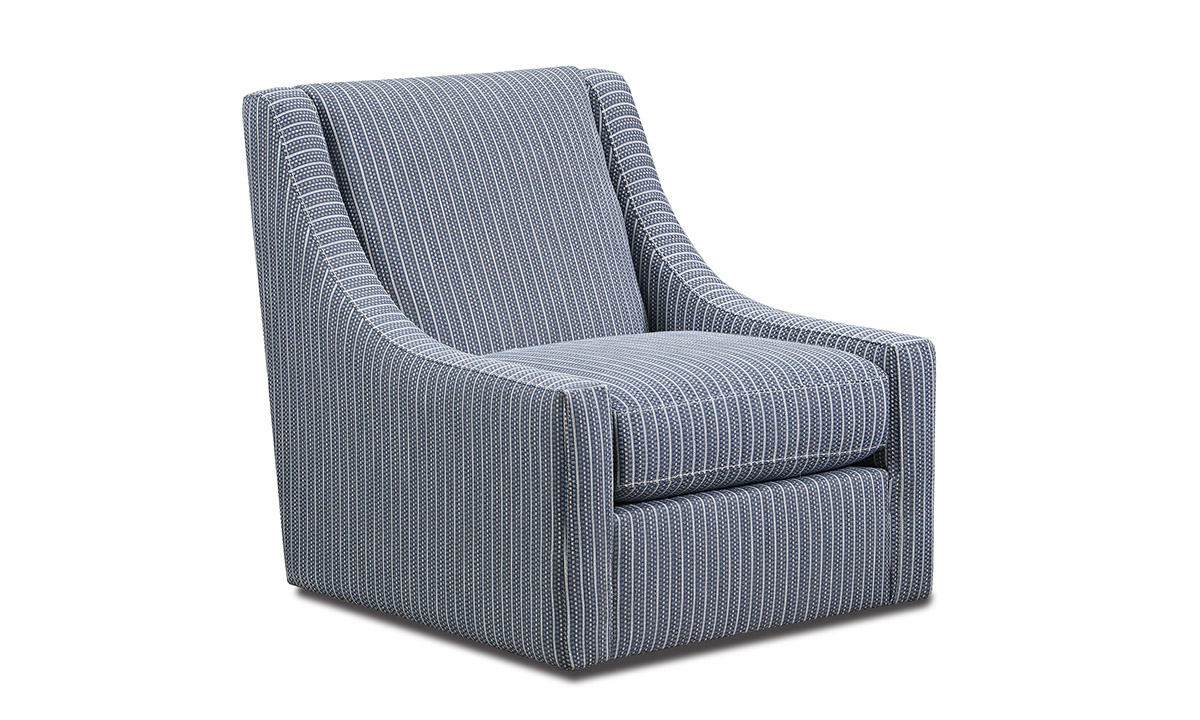 Blue striped swivel accent chair with contemporary sloped armrests.