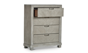 Montana Chevron Grey 4-Drawer Chest