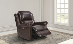 Maui Hickory Top Grain Leather Power Recliner with Power Headrest