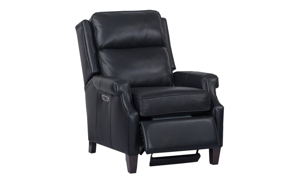 Dixon Navy Top Grain Leather Power Recliner with Power Headrest