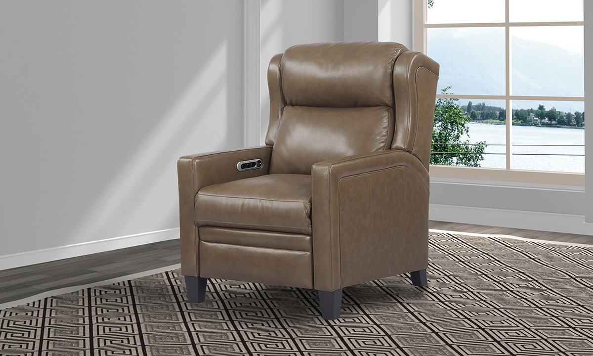 Dodge Picket Top Grain Leather Power Recliner with Power Headrest