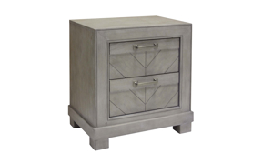 Montana Chevron Grey 2-Drawer Nightstand