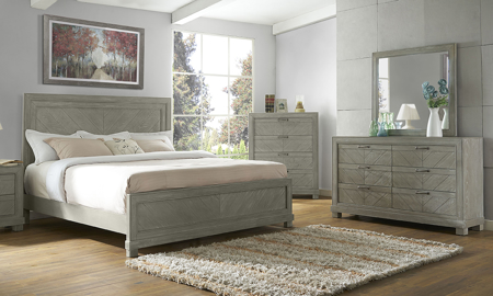 Montana Chevron Grey Panel Bedroom Sets