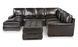 Rocky Mountain Leather Mayfair Deluxe 3-Piece Leather Left Arm Chaise 6-Seat Sectional
