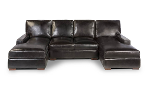 Rocky Mountain Leather Mayfair Deluxe 3-Piece Leather Dual Chaise 4-Seat Sectional