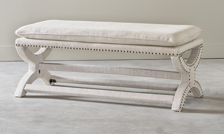 Crepe Beige Upholstered Bench