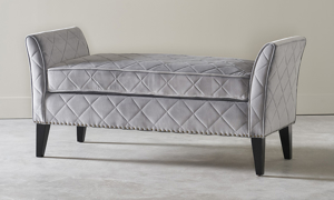 Dusk Grey Upholstered Bench