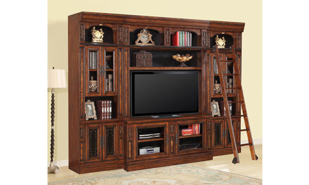 Leonardo Vintage Dark Chestnut 5-Piece Entertainment Wall Unit