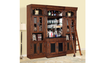 Leonardo Vintage Dark Chestnut 5-Piece Bar Cabinet Wall Unit