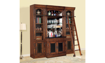 Leonardo Vintage Dark Chestnut 5-Piece Bar Library Wall Unit