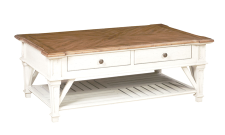 Cottage Cream Rectangular 2-Drawer Cocktail Table