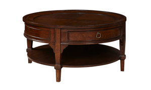 Stafford Brown Round 1-Drawer Cocktail Table