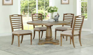 Austin White Oak Round 5-Piece Dining Set