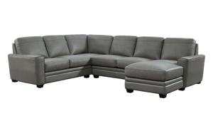 Steel Grey Leather 3-Piece Chaise Sectional