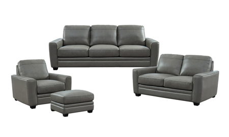 Steel Grey Leather 4-Piece Living Room Set