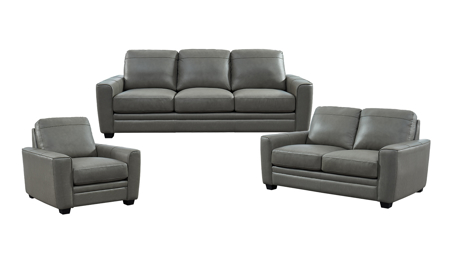 Steel Grey Leather 3-Piece Living Room Set