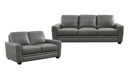 Steel Grey Leather 2-Piece Living Room Set