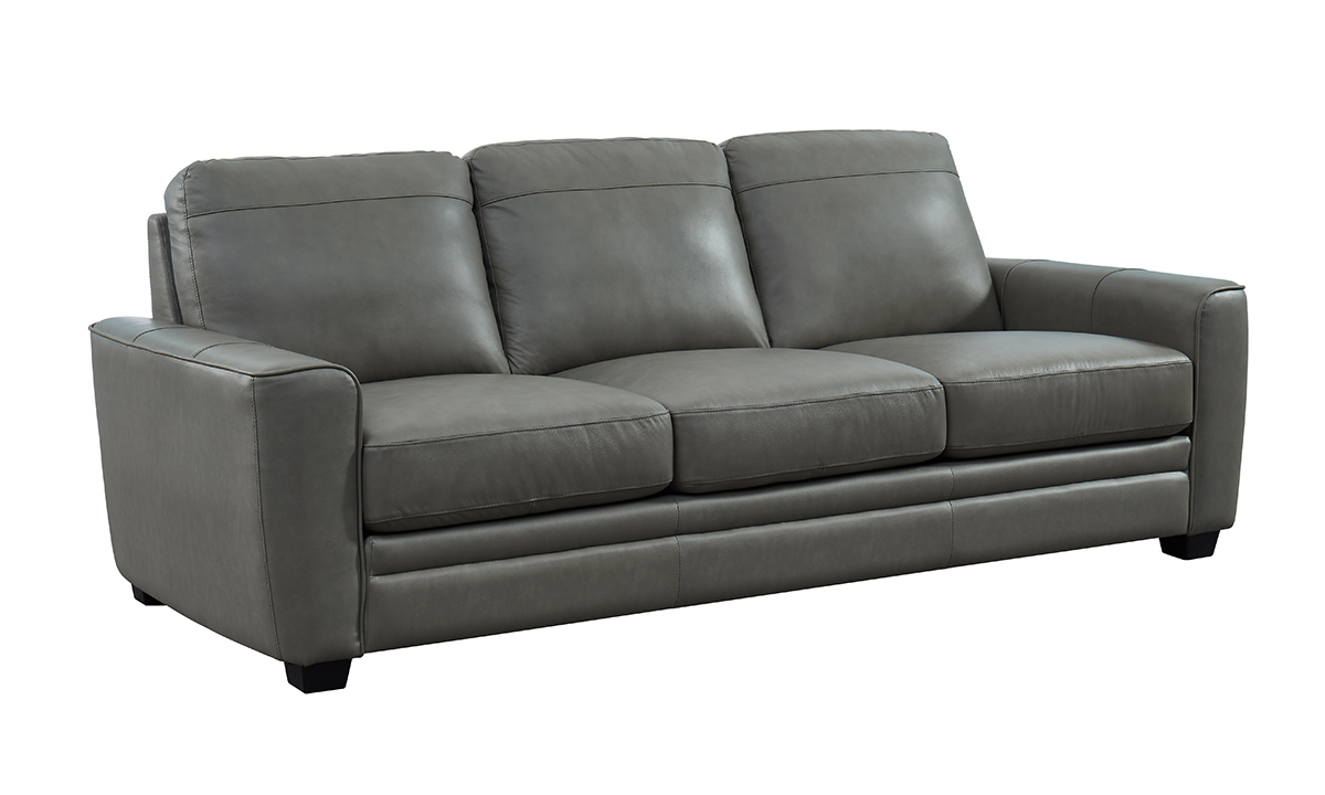 Steel Grey Leather Sofa