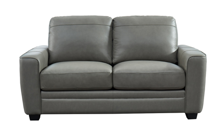 Steel Grey Leather Loveseat