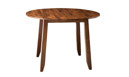 Kona Brandy Solid Mango Wood Round Drop Leaf Table