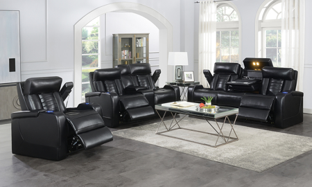 Sarasota Black Power Reclining 3-Piece Living Room Set