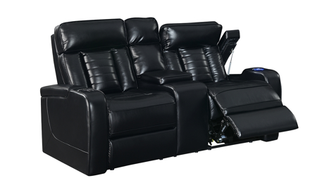 Sarasota Black Power Reclining Console Loveseat