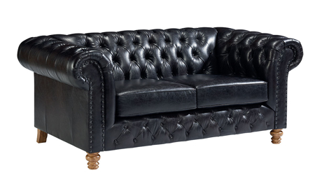Magnolia Home Well Seasoned Black Top Grain Leather Loveseat
