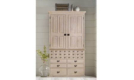 Magnolia Home Primitive Feather Card Catalogue Armoire