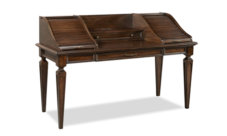 Grand Classic Tobacco Brown Roll Top Desk