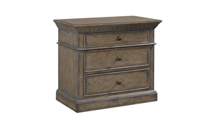 Belle Maison Aged Oak 3-Drawer Nightstand