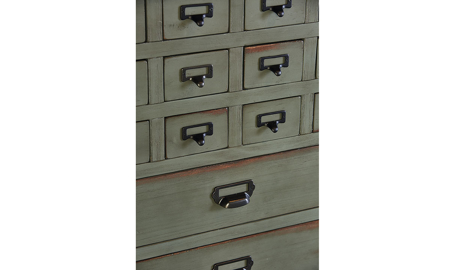 Magnolia Home Primitive Patina Card Catalogue Armoire
