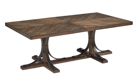 Magnolia Home Iron & Oak Trestle Base Cocktail Table