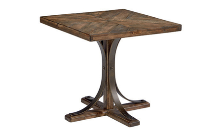 Magnolia Home Iron & Oak Trestle Base End Table