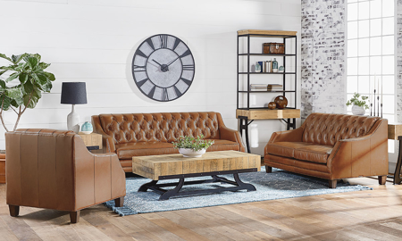 Magnolia Home Tufted Caramel Leather 2-Piece Living Room Set