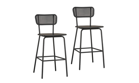Magnolia Home Method Black Mesh Back 2-Piece Barstool Set