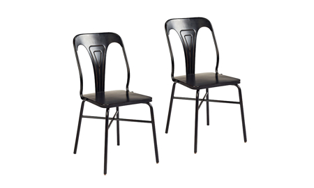 Magnolia Home Stamped Black Metal 2-Piece Chair Set