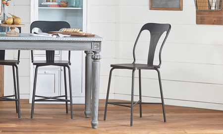 Magnolia Home Stamped Black Metal 2-Piece Barstool Set