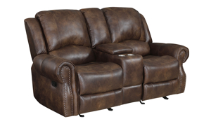Navarro Brown Dual Reclining Console Loveseat