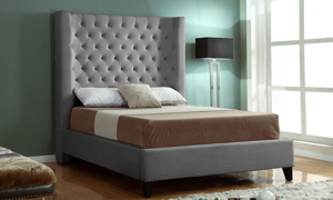 Wilson Graphite Wing Back Upholstered Beds