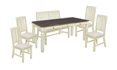 Homeplace Dark Oak and White 6-Piece Dining Set