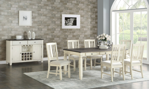 Homeplace Dark Oak and White Dining Bench