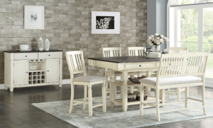 Homeplace Dark Oak and White Counter Height 5-Piece Dining Set